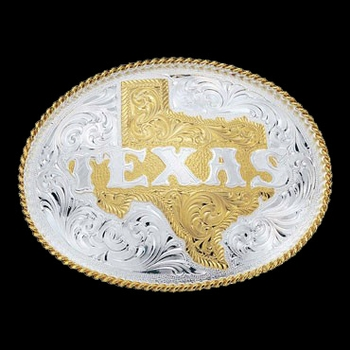 Silver Engraved Western Belt Buckle with Etched State of Texas (5630)