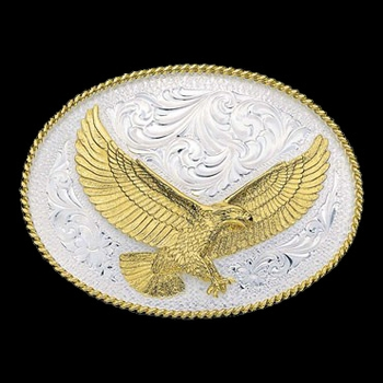 Silver Engraved Western Belt Buckle with Large Eagle (1460)