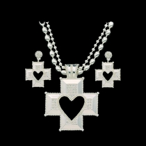 Silver Heart Cross Jewelry Set (JS61131)