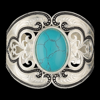 Silver Pinpoints  and Western Lace Cuff Bracelet with Turquoise (BC2106)