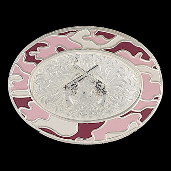 Silver-Tone Pink Camo Buckle with Silver Crossed Pistols (6108PK-55)