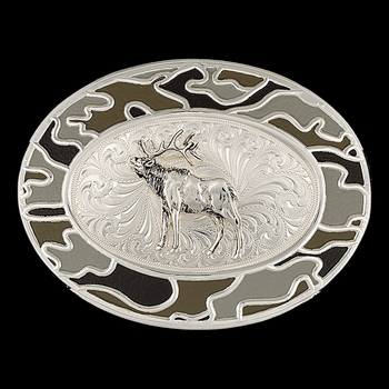 Silver-Tone Winter Camo Buckle with Elk (6108D-688)