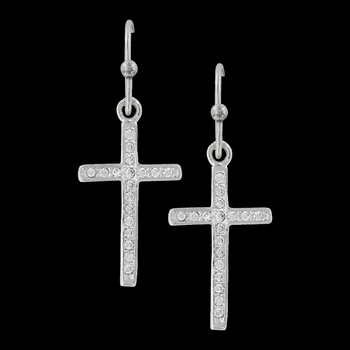 Simple Rhinestone Cross Earrings (ER3052)