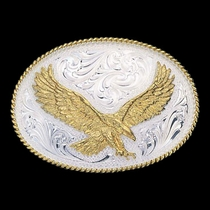 Small Silver Engraved Western Belt Buckle with Large Eagle (2440)