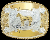 Small Trophy Buckle - Montana Silversmiths 6504