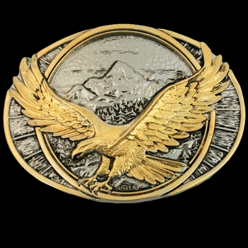 Soaring Eagle Two Tone Attitude Belt Buckle (60791P)