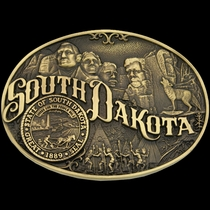 South Dakota State Heritage Attitude Buckle (60811SDC)