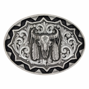 Southwest Classic Impressions Buffalo Skull With Feather Attitude Buckle (A519S)