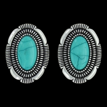 Southwest Hatched Oval Post Earrings Attitude Jewelry (AER3471)