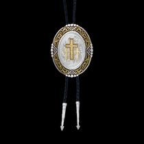 Southwestern Rancher's Bolo Tie with Triple Crosses (BT47-855)