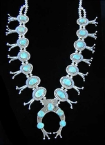 Squash Blossom Turquoise Necklace by Herman Vandever