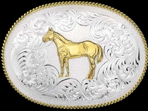 Standing Horse Belt Buckle by Montana Silversmiths