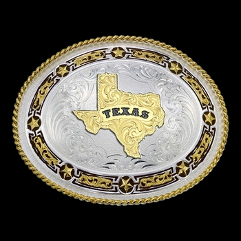 Star Links Western Belt Buckle with State of Texas (11310-610TX-BK)