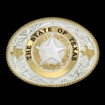 State of Texas Star Seal Western Belt Buckle (61374)