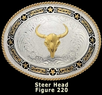 Steer Head Belt Buckle by Montana Silversmiths