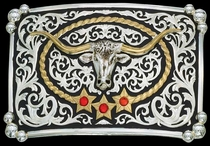 Steer Head Buckle by Montana Silversmiths