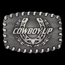 Stitched Edge Radiating Cowboy Up Attitude Buckle (A512)