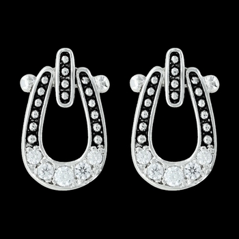 Studded Ice Horseshoe Earrings (ER3022)