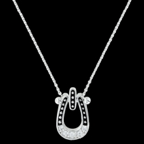 Studded Ice Horseshoe Necklace (NC3022)