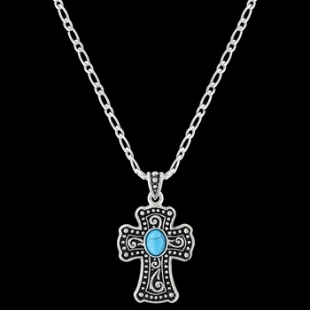 Swirling Cross with Turquoise Necklace (NC3261)