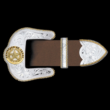 "Texas Star Silver Engraved Gold Trim 1.5"" 3 Piece Belt Buckle Set (4550-848)"