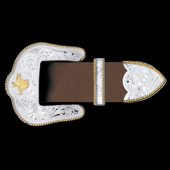 "Texas State Silver Engraved Gold Trim 1.5"" 3 Piece Belt Buckle Set (4550-22TX)"