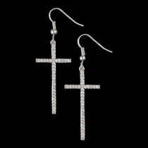 The Straight Path Cross Earrings in Bright (ER2015CZ)