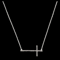 The Straight Path Cross Necklace in Bright (NC2015CZ)
