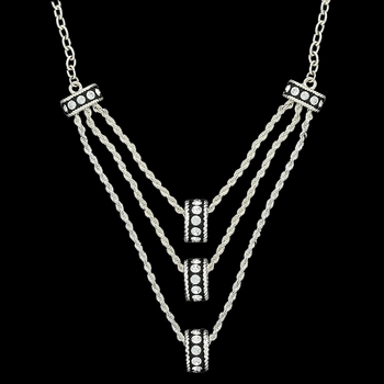 Three Tiers Crystal Shine Rings in Black Necklace (NC1367CZ)