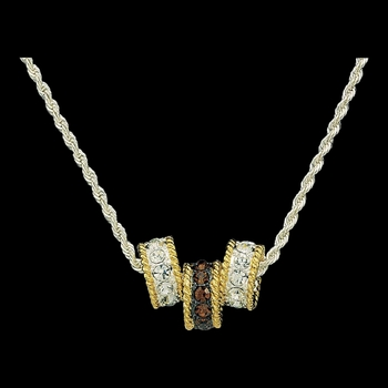 Topaz Crystal Shine Triple Ring Necklace (NC61133)