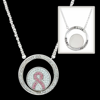 Tough Enough to Wear Pink Hope Rope Enfolded Necklace (NC2784)