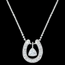 Treasured Trillion Sparkling Horseshoe Necklace (NC3214CZ)