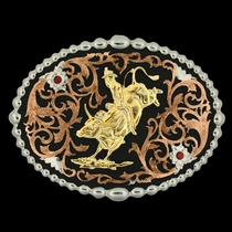 Tri Color Bull Rider Attitude Belt Buckle (60988)