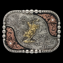 Tri-Color Classic Impressions Shiny Box and Bead Attitude Buckle with Bullrider (A528T)
