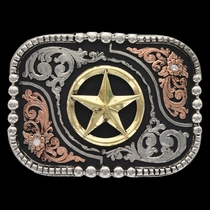 Tri-Color Classic Impressions Shiny Box and Bead Attitude Buckle with Lone Star (A529T)