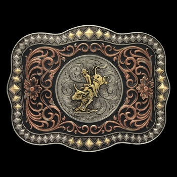 Tri-Color Diamond Trim Scalloped Bull Rider Attitude Buckle (A477T)