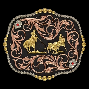 Tri-Color Team Ropers Traditional Attitude Buckle (A392T)