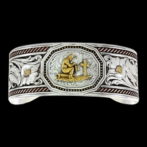 Tri-Color Wide LeatherCut Portrait Cuff Bracelet with Praying Cowboy (BC2836TRI-917XS)