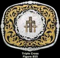 Triple Cross Belt Buckle by Montana Silversmiths