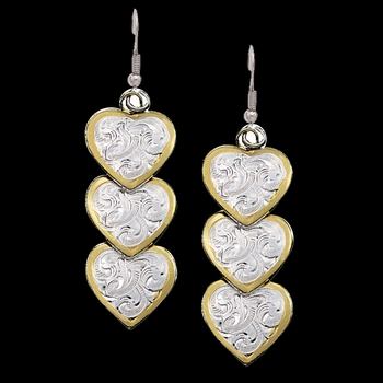 Triple Hearts of Silver and Gold Dangle Earrings (ER151)
