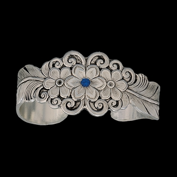 True Blue Silver Flower and Feather Spray Cuff Bracelet (BC1016TB)