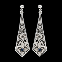True Blue Silver Flower Filigree Dangle Earrings (ER1013TB)