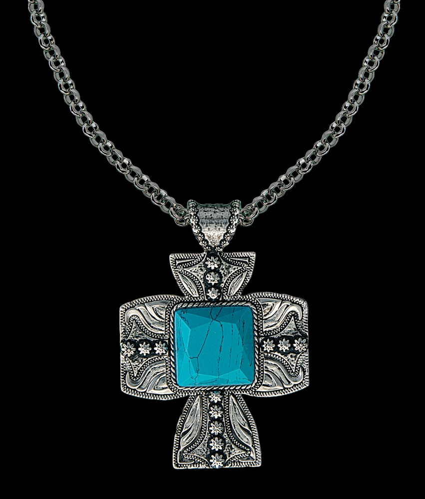 Turquoise Silver Scrolled Cross Necklace
