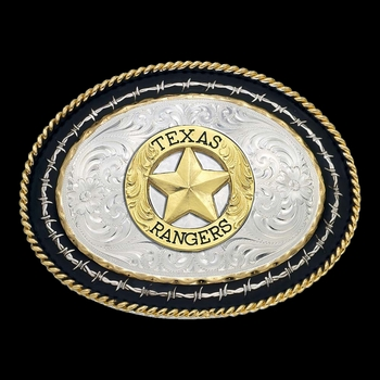 Twisted Rope and Barbed Wire Belt Buckle with Texas Rangers Emblem (6139-842-BK)