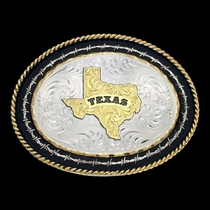 Twisted Rope and Barbed Wire Western Buckle with Texas State (6139-610TX-BK)