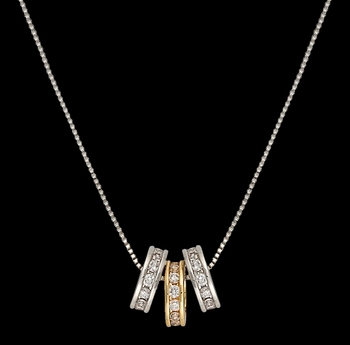 Two-Tone A Path of Star Lights Three Ring Necklace (NC2748)