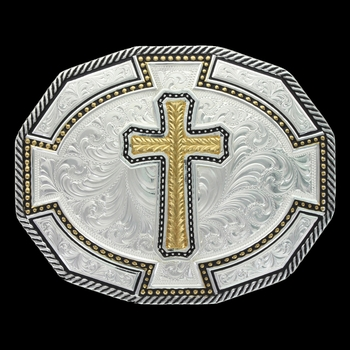 Two Tone Bordertown Buckle with Large Wheat Cross (29810-929XL)