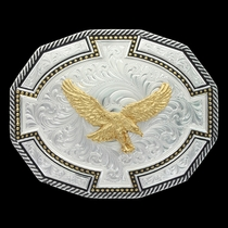 Two Tone Bordertown Buckle with Soaring Eagle (29810-696)