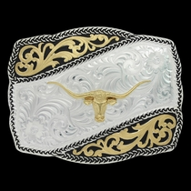 Two Tone Braided Wave Buckle with Longhorn Steer (31310-771)