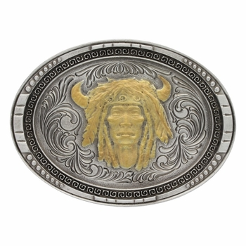 Two-Tone Chieftain Portrait Classic Attitude Buckle (A481)